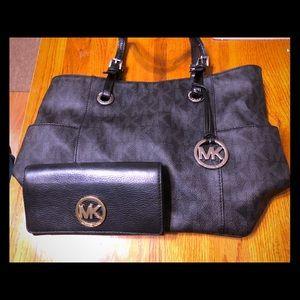 Michael Kors Jet Set tote bag and leather wallet